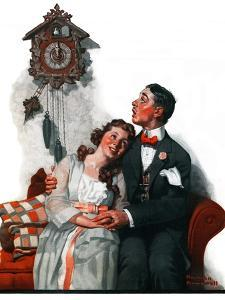 """Courting under the Clock at Midnight"", March 22,1919 by Norman Rockwell"