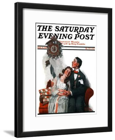 """""""Courting under the Clock at Midnight"""" Saturday Evening Post Cover, March 22,1919"""