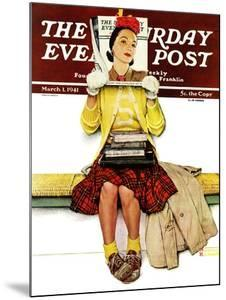 """Cover Girl"" Saturday Evening Post Cover, March 1,1941 by Norman Rockwell"