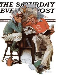 """""""Cramming"""" Saturday Evening Post Cover, June 13,1931 by Norman Rockwell"""