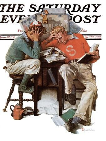 """Cramming"" Saturday Evening Post Cover, June 13,1931"