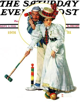 """Croquet"" or ""Wicket Thoughts"" Saturday Evening Post Cover, September 5,1931"
