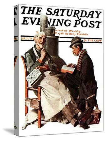 """""""Crossword Puzzle"""" Saturday Evening Post Cover, January 31,1925"""