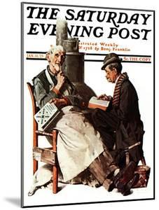 """""""Crossword Puzzle"""" Saturday Evening Post Cover, January 31,1925 by Norman Rockwell"""