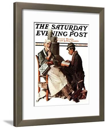 """Crossword Puzzle"" Saturday Evening Post Cover, January 31,1925"