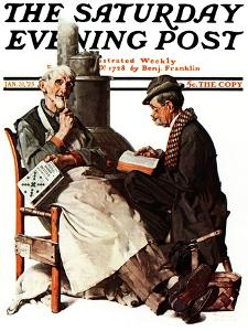 """Crossword Puzzle"" Saturday Evening Post Cover, January 31,1925 by Norman Rockwell"
