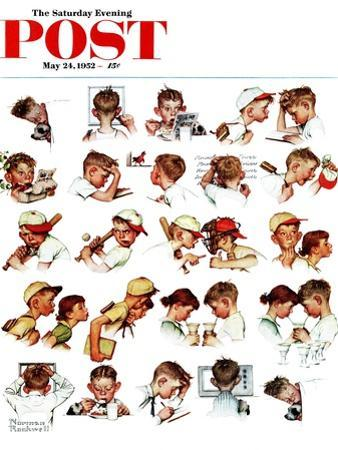 """""""Day in the Life of a Boy"""" Saturday Evening Post Cover, May 24,1952 by Norman Rockwell"""