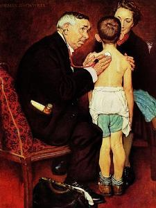 """Doc Melhorn and the Pearly Gates"", December 24,1938 by Norman Rockwell"
