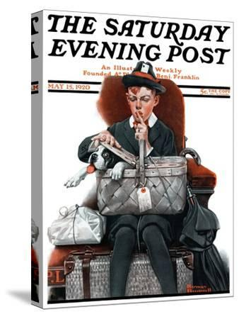 """Dog in Basket"" or ""Stowaway"" Saturday Evening Post Cover, May 15,1920"