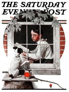 """Dog Outside"" or ""Patient Friend"" Saturday Evening Post Cover, June 10,1922 by Norman Rockwell"