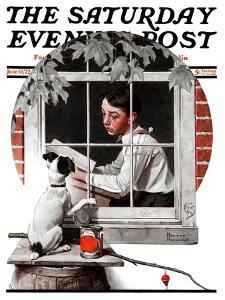 """""""Dog Outside"""" or """"Patient Friend"""" Saturday Evening Post Cover, June 10,1922 by Norman Rockwell"""