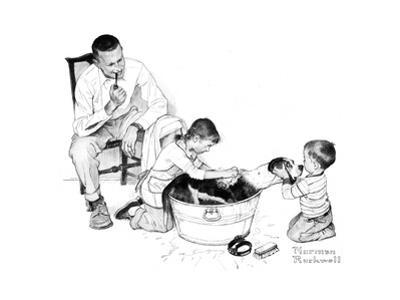 Dog's Bath by Norman Rockwell
