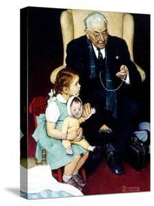 Doll Checkup (or Doll Pretending to Check up Doll) by Norman Rockwell