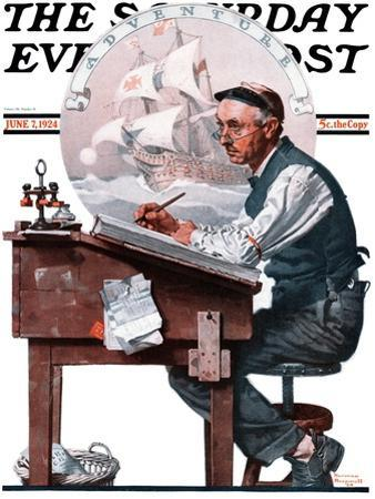 """Escape to Adventure"" Saturday Evening Post Cover, June 7,1924 by Norman Rockwell"