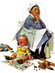 """""""Exasperated Nanny"""", October 24,1936 by Norman Rockwell"""