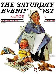 """""""Exasperated Nanny"""" Saturday Evening Post Cover, October 24,1936 by Norman Rockwell"""
