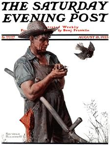 """Farmer and the Bird"" or ""Harvest Time"" Saturday Evening Post Cover, August 18,1923 by Norman Rockwell"