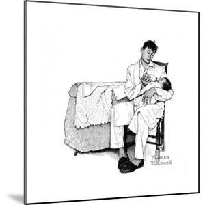 Father Feeding Infant by Norman Rockwell