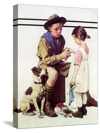 First Aid Lesson (or Scout Bandaging Girl's Finger) by Norman Rockwell