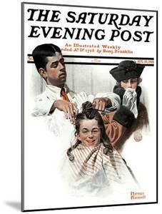 """""""First Haircut"""" Saturday Evening Post Cover, August 10,1918 by Norman Rockwell"""