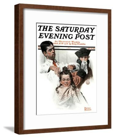 """""""First Haircut"""" Saturday Evening Post Cover, August 10,1918"""