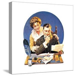 First of the Month (or Family Paying Bills) by Norman Rockwell
