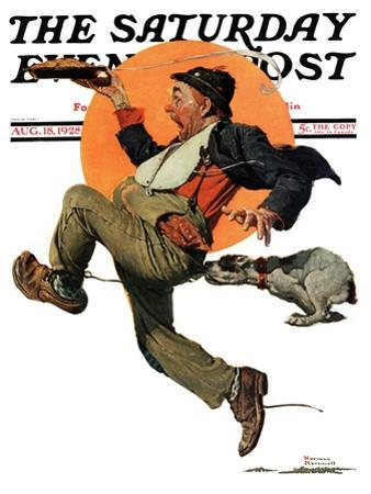 """""""Fleeing Hobo"""" Saturday Evening Post Cover, August 18,1928"""