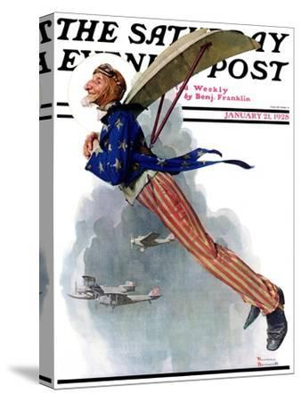 """Flying Uncle Sam"" Saturday Evening Post Cover, January 21,1928"