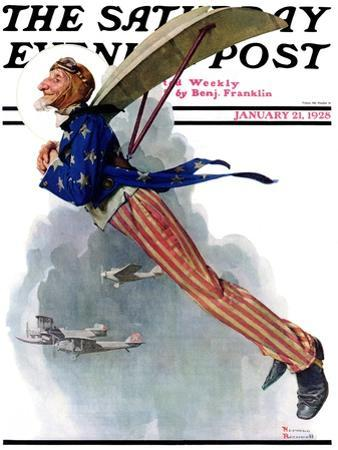 """""""Flying Uncle Sam"""" Saturday Evening Post Cover, January 21,1928 by Norman Rockwell"""