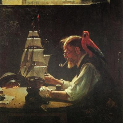 For a Good Boy (or Sea Captain Building Ship Model) by Norman Rockwell