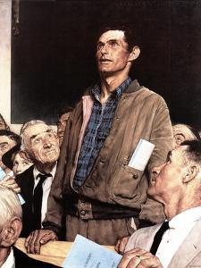"""""""Freedom Of Speech"""", February 21,1943 by Norman Rockwell"""