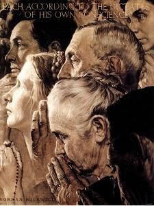 """""""Freedom of Worship"""", February 27,1943 by Norman Rockwell"""
