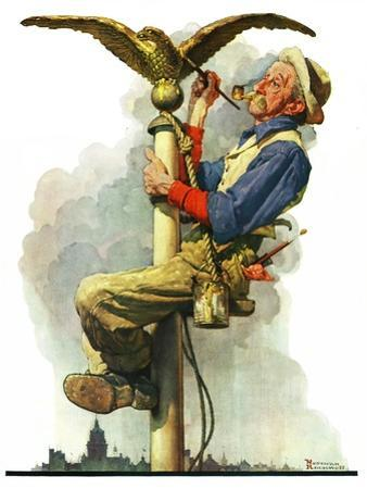 """""""Gilding the Eagle"""" or """"Painting the Flagpole"""", May 26,1928 by Norman Rockwell"""