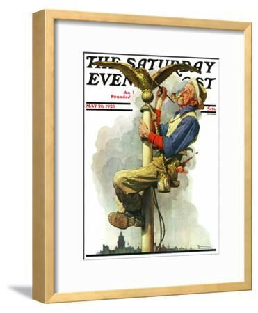 """""""Gilding the Eagle"""" or """"Painting the Flagpole"""" Saturday Evening Post Cover, May 26,1928"""