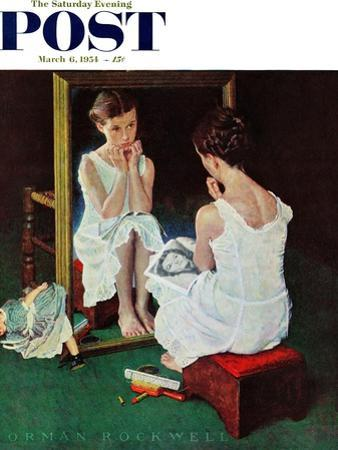 """Girl at the Mirror"" Saturday Evening Post Cover, March 6,1954"