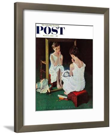 """""""Girl at the Mirror"""" Saturday Evening Post Cover, March 6,1954"""