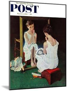 """Girl at the Mirror"" Saturday Evening Post Cover, March 6,1954 by Norman Rockwell"