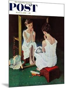 """""""Girl at the Mirror"""" Saturday Evening Post Cover, March 6,1954 by Norman Rockwell"""