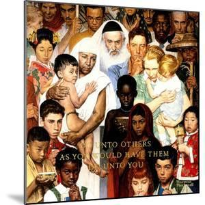 """""""Golden Rule"""" (Do unto others), April 1,1961 by Norman Rockwell"""