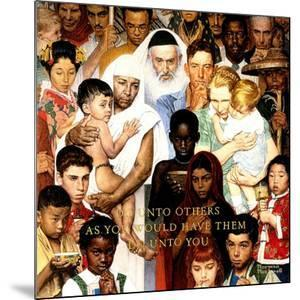 """Golden Rule"" (Do unto others), April 1,1961 by Norman Rockwell"