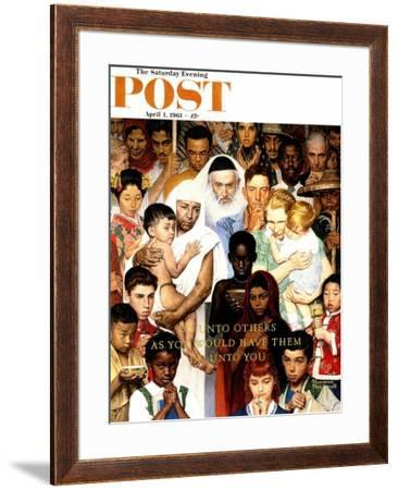 """""""Golden Rule"""" (Do unto others) Saturday Evening Post Cover, April 1,1961 by Norman Rockwell"""