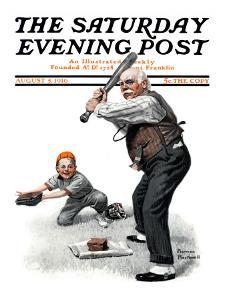 """""""Gramps at the Plate"""" Saturday Evening Post Cover, August 5,1916 by Norman Rockwell"""