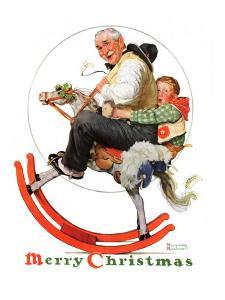"""Gramps on Rocking Horse"", December 16,1933 by Norman Rockwell"