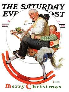 """Gramps on Rocking Horse"" Saturday Evening Post Cover, December 16,1933 by Norman Rockwell"