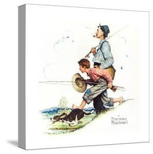 Grandpa and Me: Fishing by Norman Rockwell