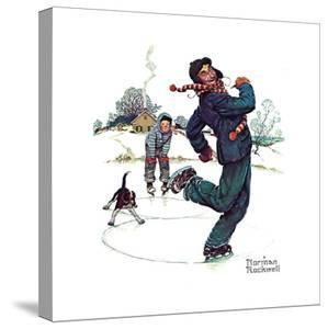 Grandpa and Me: Ice Skating by Norman Rockwell