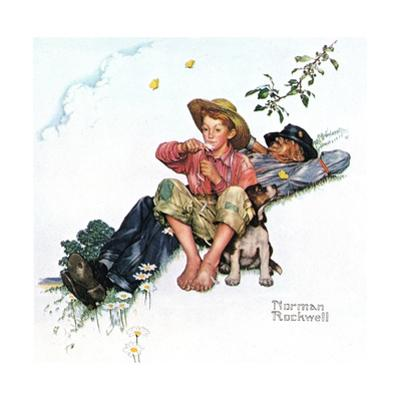 Grandpa and Me: Picking Daisies by Norman Rockwell