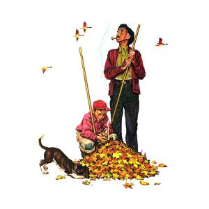Grandpa and Me: Raking Leaves by Norman Rockwell