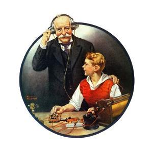 Grandpa Listening In on the Wireless by Norman Rockwell