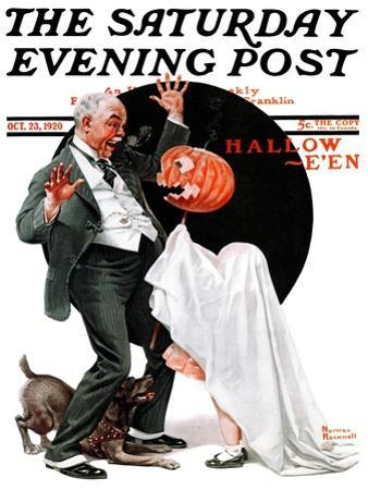 """""""Halloween"""" Saturday Evening Post Cover, October 23,1920 by Norman Rockwell"""